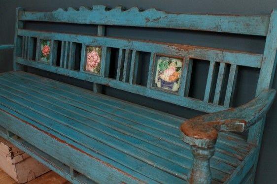 Restored Antique Indian Distressed Blue Indoor Outdoor Teak Wood Bench Outdoor Porch Teak Outdoor Outdoor Design