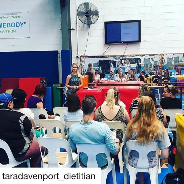 Thank you again to @taradavenport_dietitian for a very informative workshop about athlete nutrition on the weekend. We are reposting her tips here. #Repost @taradavenport_dietitian with @get_repost  GYMNASTICS NUTRITION  The sport that was my childhood and of course naturally bias being my fave nutrition topic to talk about  . . As we explored on the weekend there are so many focusses that involves getting our nutrition correct. Here are some to start thinking about. . . Pre-training nutrition = #athletenutrition