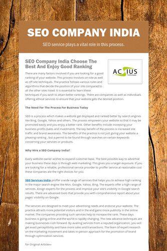 SEO Company India http://www.acsius.com/