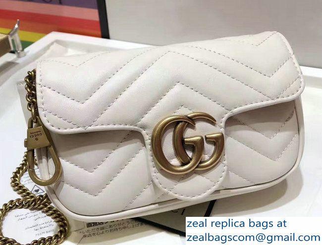 991bdc60d518 Gucci GG Marmont Matelasse Chevron Super Mini Chain Shoulder Bag 476433  White 2017