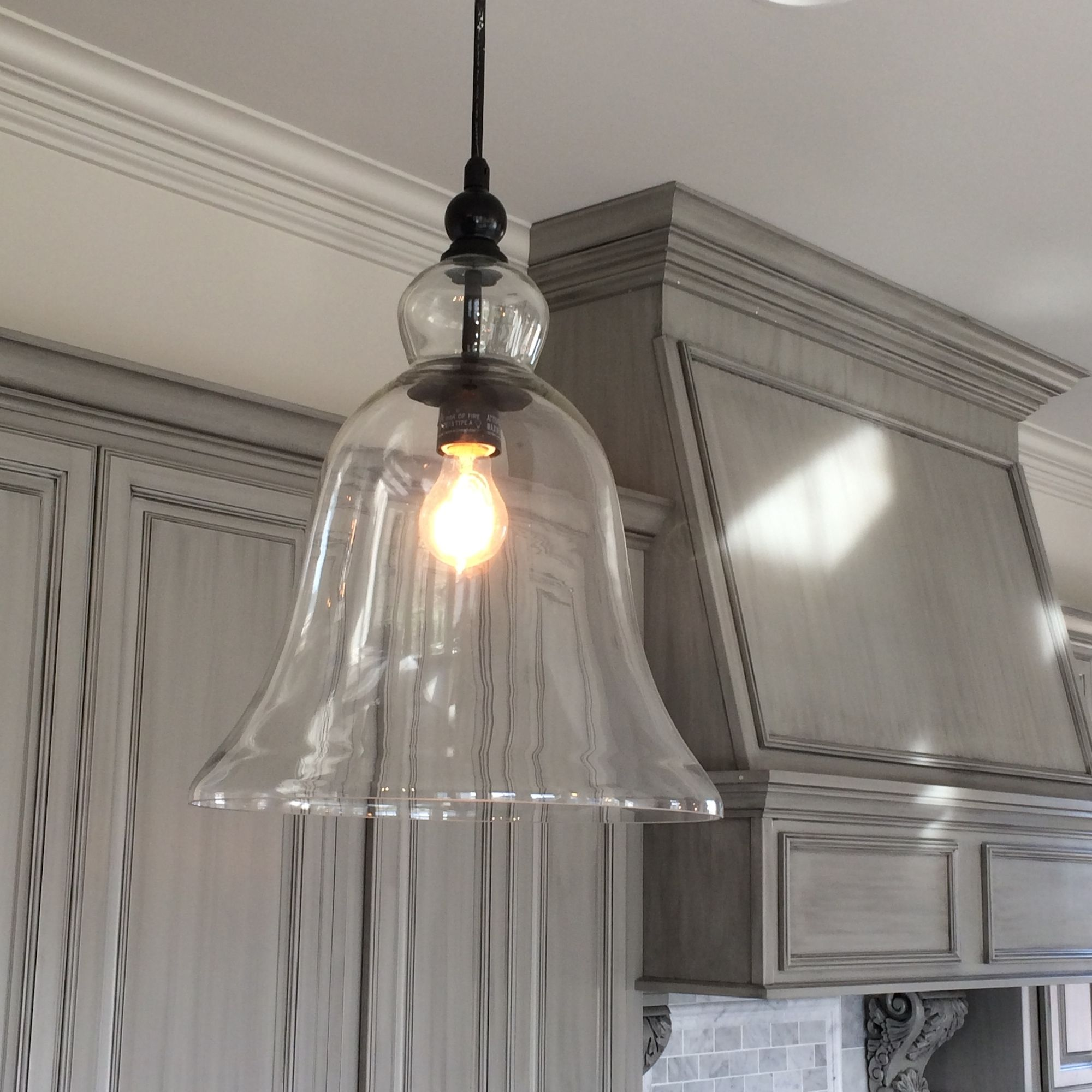 kitchen hanging lights Kitchen Large Glass Bell Hanging Pendant Light