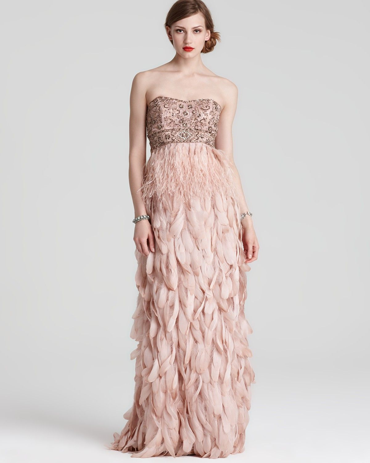 076f352a5227 Sue Wong Embellished Strapless Feather Gown. Feather obsession ...