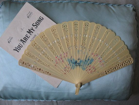 Vintage  French Ivory Ivorine Celluloid Fan by WhenRosesBloomShop, $24.00