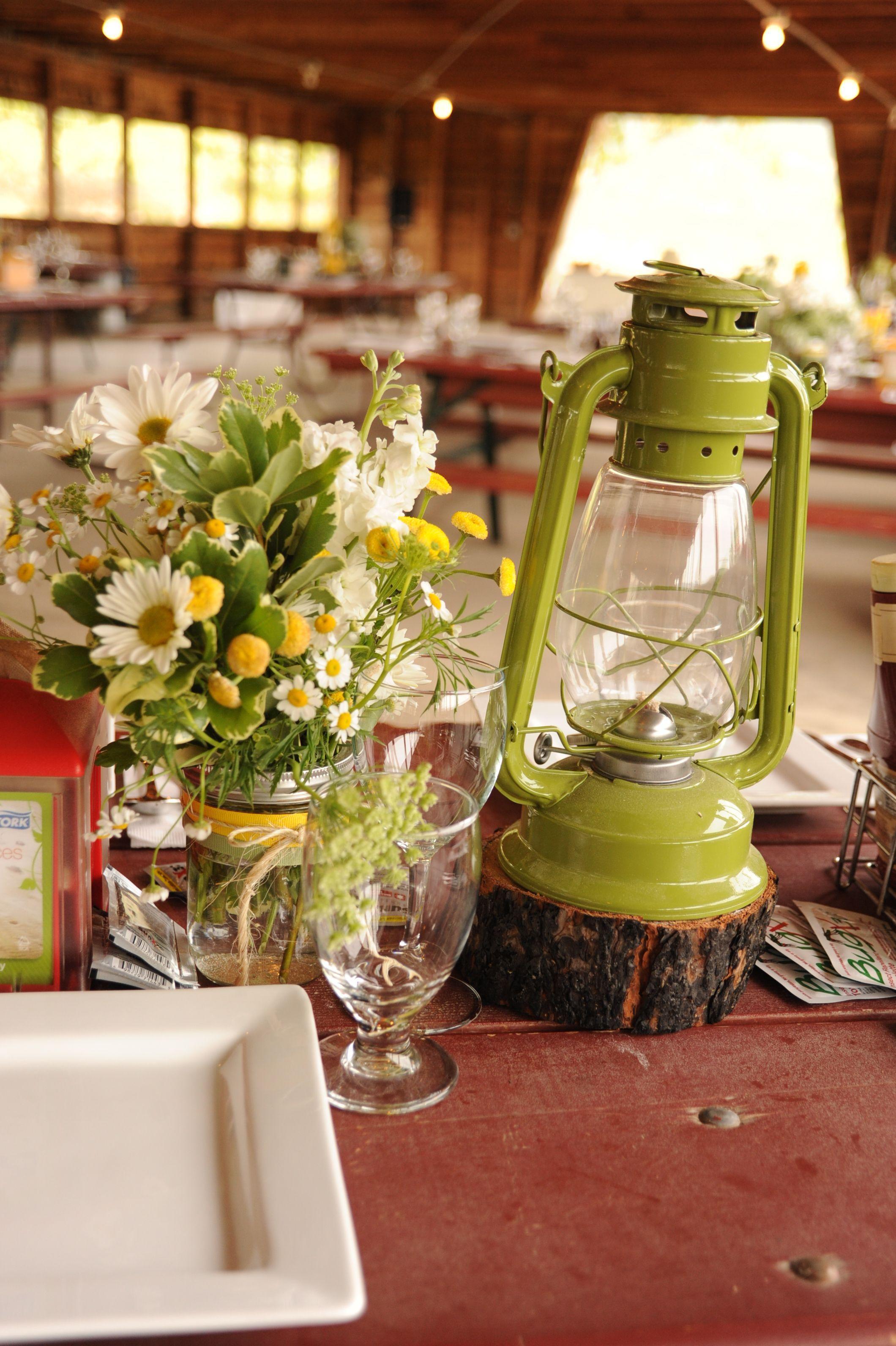Snow mountain ranch wedding picnic table wedding for Outdoor table centerpiece ideas