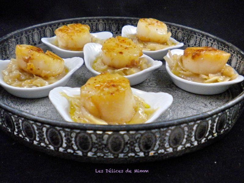 Noix de Saint-Jacques sur fondue d'échalotes en amuse-bouche - Les Délices de Mimm