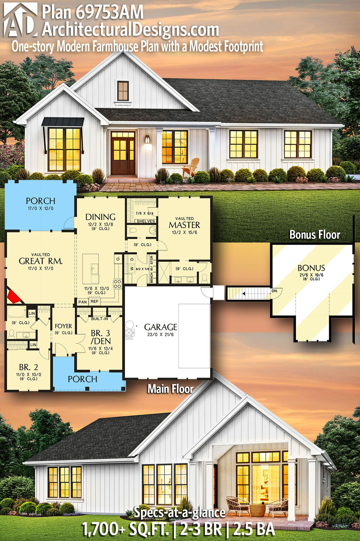Plan 69753am One Story Modern Farmhouse Plan With A Modest Footprint In 2020 Modern Farmhouse Plans Farmhouse Plans House Plans Farmhouse