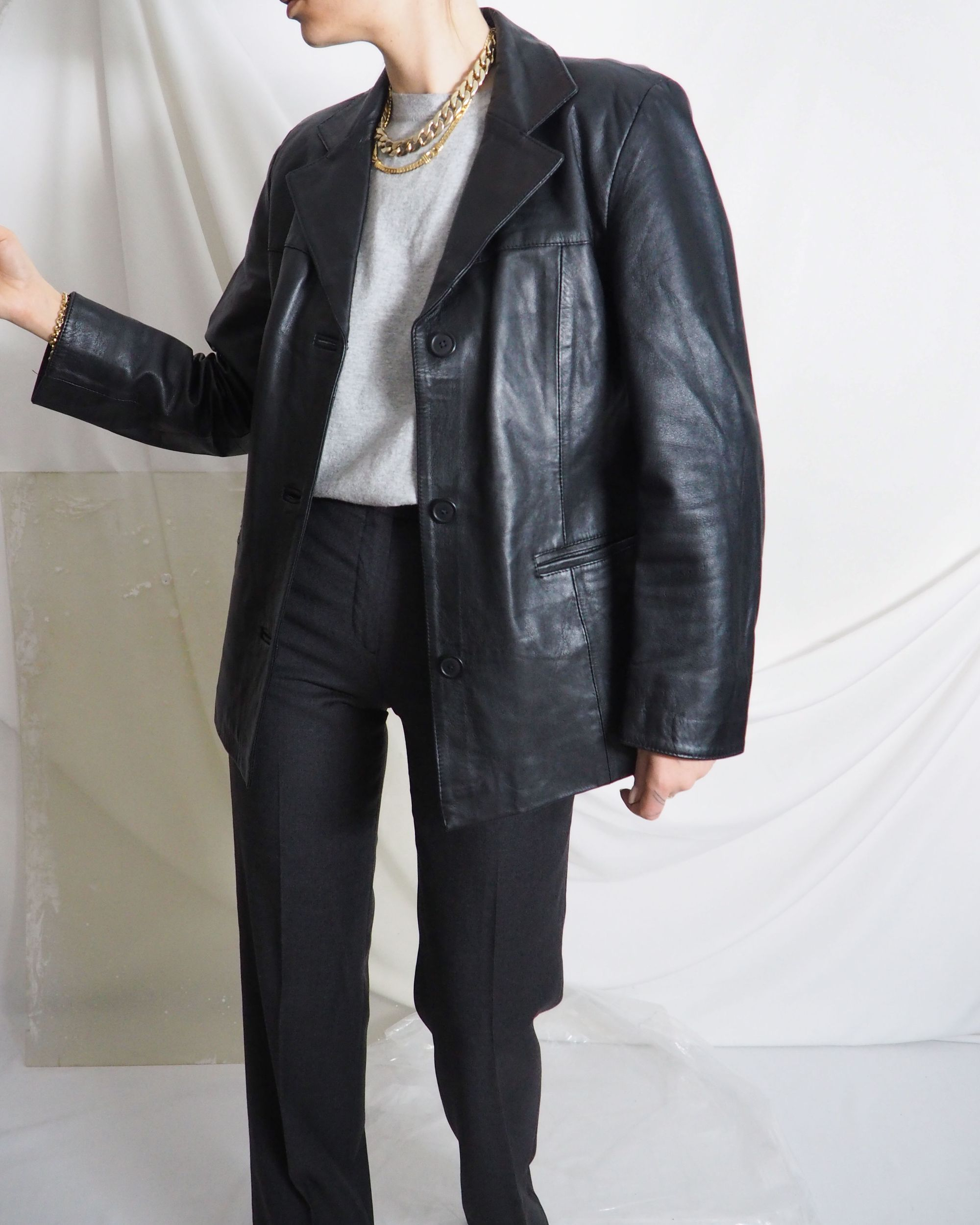 Vintage Black Leather Blazer With Gray Trousers And Gold Chain Necklace Untitled 1991 In 2020 Vintage Clothing Online Black Leather Blazer Vintage Outfits