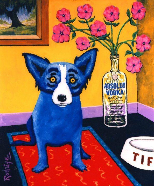 Blue dog - George Rodrigue. Saudades de Carmel e do cachorro azul que não trouxemos para casa.