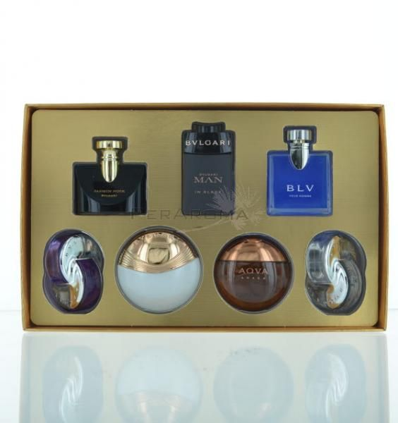 Bvlgari The Iconic Miniature collection 7 piece Mini Perfumes for Men and  Women This set includes BLV,Aqva Amber,(Eau de Toilette )and Man in Black  (Eau de ... 195432b2f8f