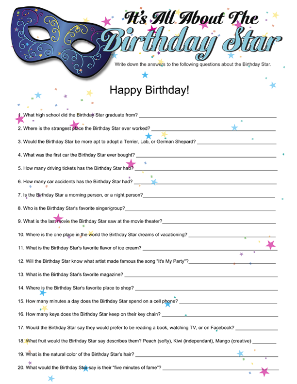 Printable Birthday Questions ~ Printable it s all about the birthday star funsational printables pinterest