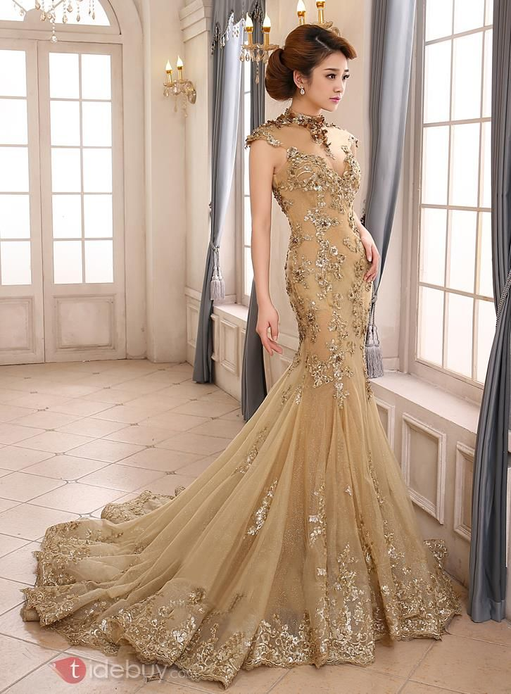 Vintage High Neck Mermaid Appliques Backless Lace-up Evening Dress ...