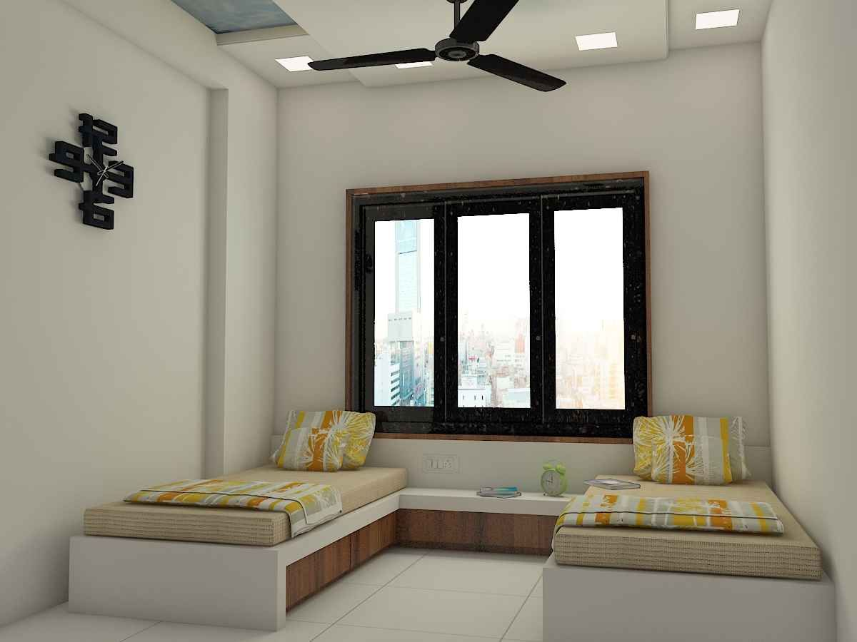 Kids Bedroom With Glass Window Designed By Kamlesh Maniya Interior Designer In SuratGujarat