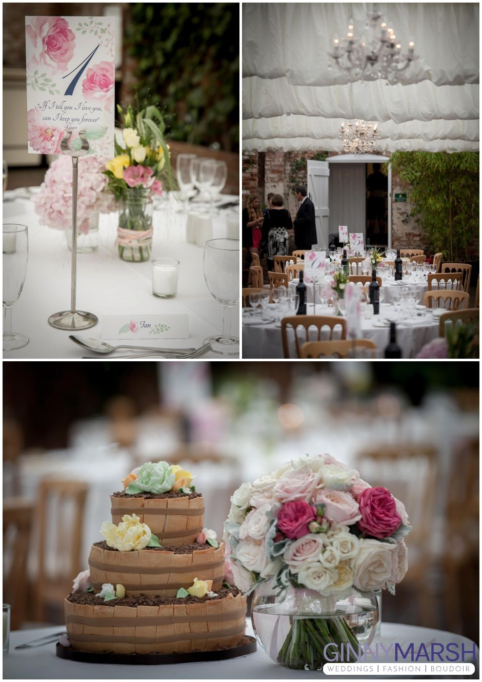 Chocolate Wedding Cake Spring Flowers Table Pieces Northbrook Park Venue