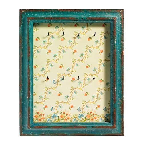Tableau porte-clé ou bijoux motif fleuri cadre bois bleu Nordal