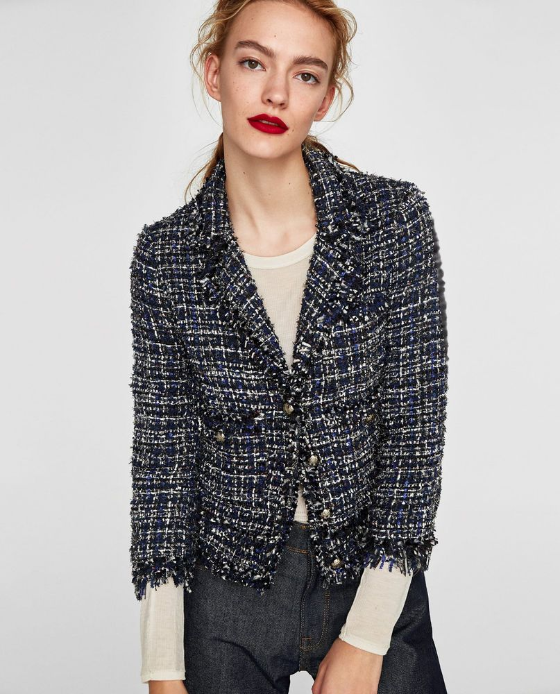 960017ca Zara Tweed Jacket Frayed Embellished Fantasy Blazer Navy Blue XS S M L XL  BNWT