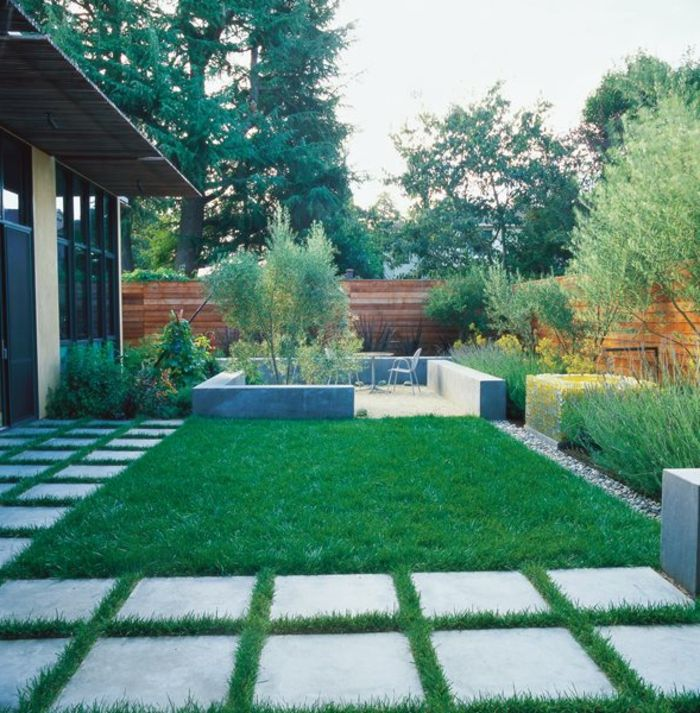 Grüner Rasen, Weiße Steine, Kies Im Garten, Kleine Gartenmöbel, Garten  Ideen Günstig