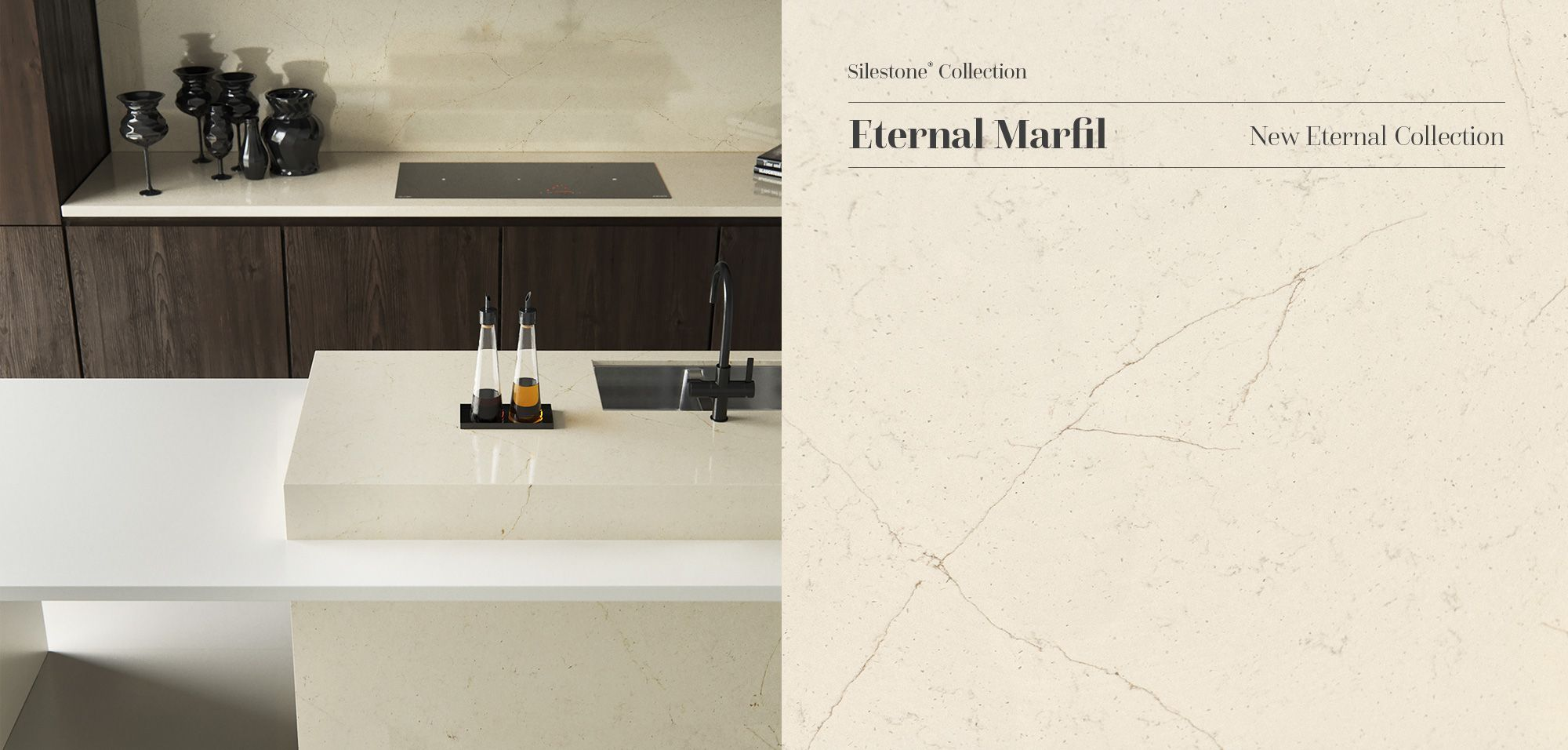Creamy Soft Minimalist And Topsontop New Silestone Eternal Marfil Puts A Unique Spin On Crema Marfil Marble To Br Silestone Funky Kitchen Silestone Kitchen