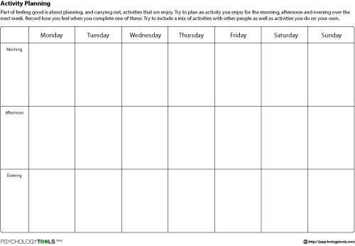 activity planning cbt worksheet psychology tools health