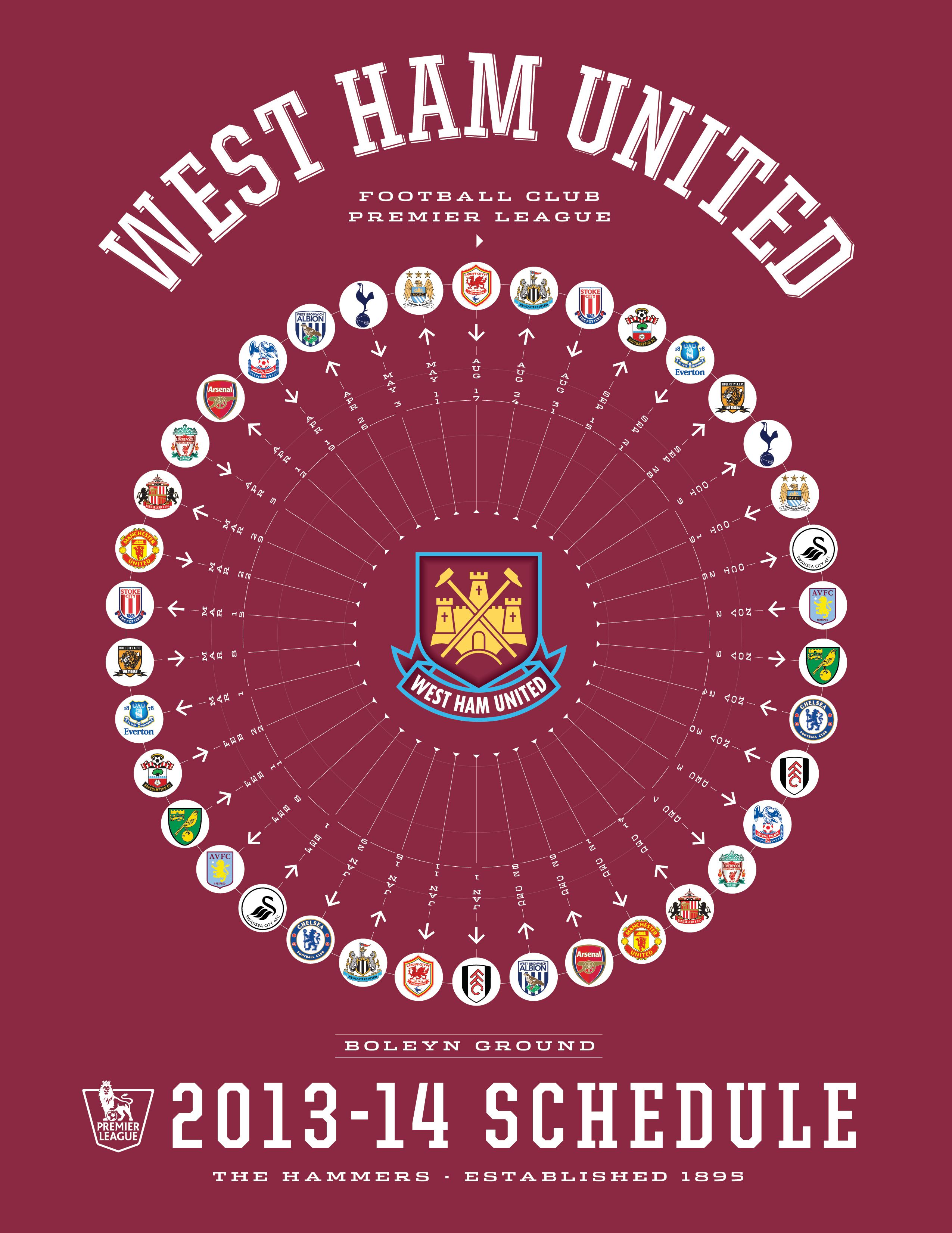 west ham united 2013-14 premier league schedule   2013-14 premier