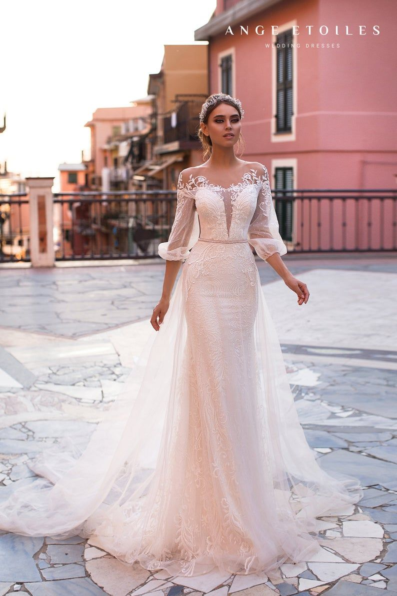 Wedding Dress Katalina With Long Train By Ange Etoiles Ange Etoiles Collection 2019 Long Sleeve Wedding Guest Dresses Wedding Dresses Wedding Dress Trends [ 1191 x 794 Pixel ]