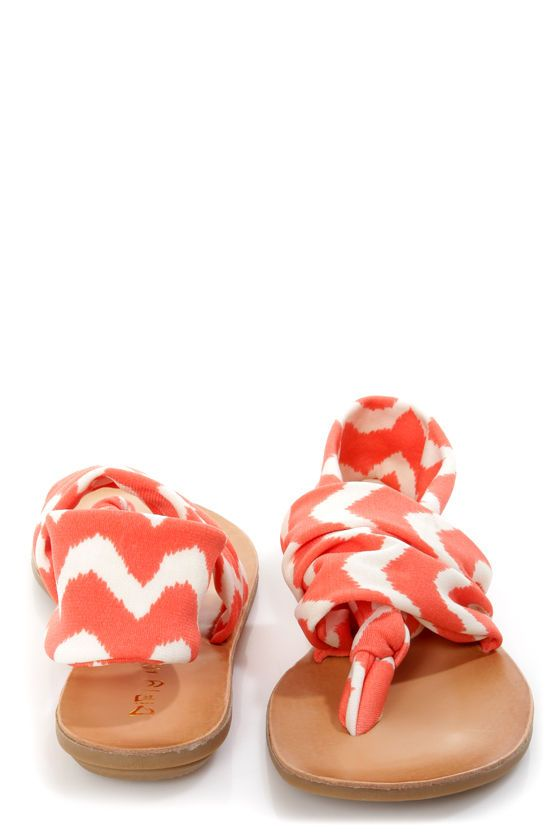 Why love the Dirty Laundry Beka 2 Coral Zigzag Stretch Thong Sandals? Coral  and ivory ikat print zigzags from knotted thong to slingback.