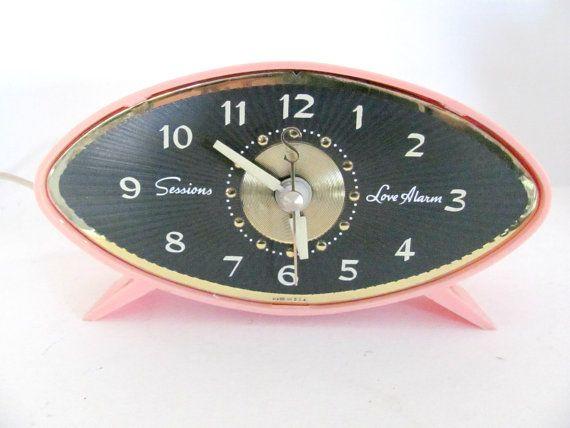 Vintage 1960's Sessions Pink Alarm Clock, Electric Alarm