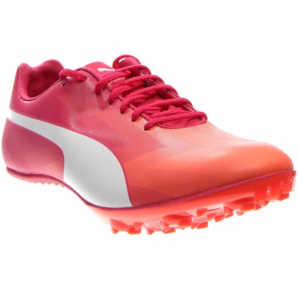 PUMA Women's Evospeed Sprint V6 Track Spike Shoe, Fluorescent  Peach/White/Rose Red/White, 8 B US