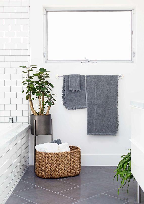 a more interesting floor pattern using basic tile////Modern bathroom renovation