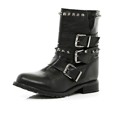 Women's Black Flat Faux Leather Ankle Boots with Metal Trim Buckle Biker Boots