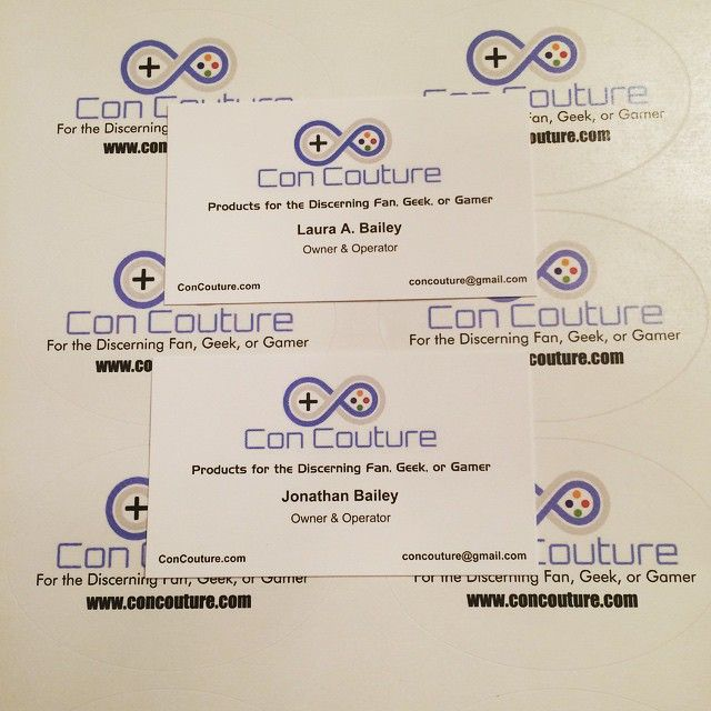 New @concoutureofficial business cards - CHECK! Awesome @concoutureofficial Stickers to Brand our shipments and convention packaging - CHECK!  #concouture #startup #superherostuff #TampaBayComicCon #metrocon2015