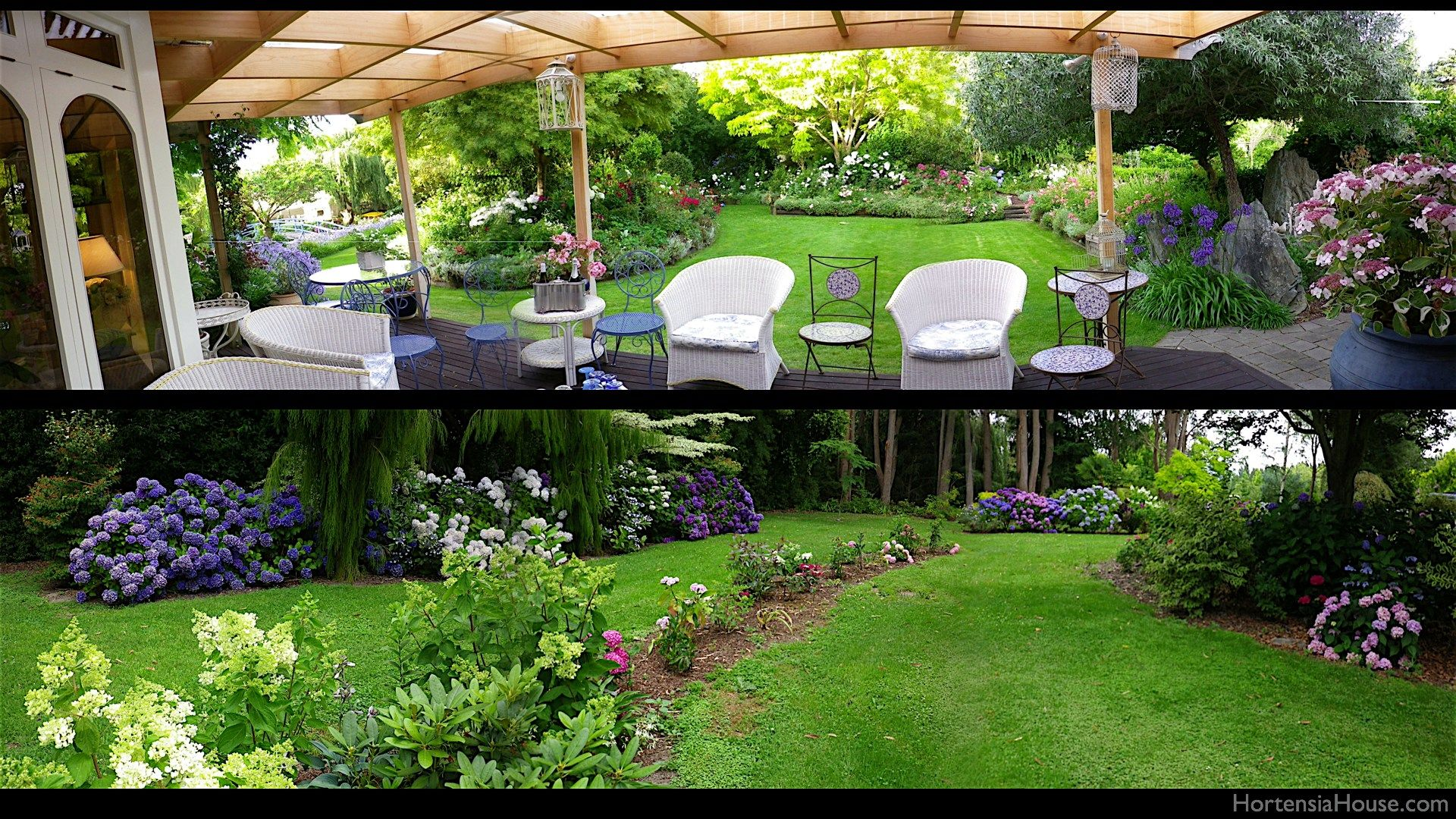Hortensia house garden blenheim new zealand panoramas for Small house garden design