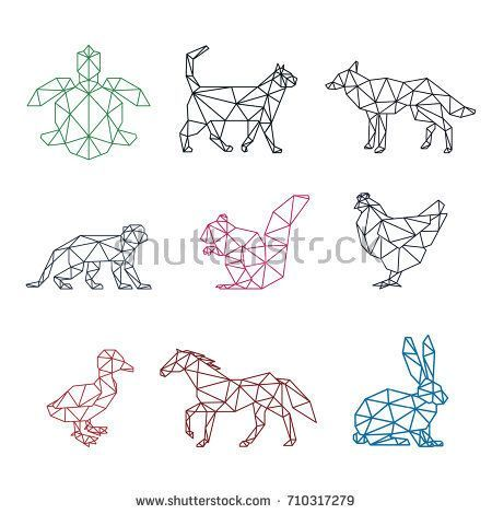 Animal Pet Low Poly Logo Icon Symbol Set Triangle Geometric Turtle