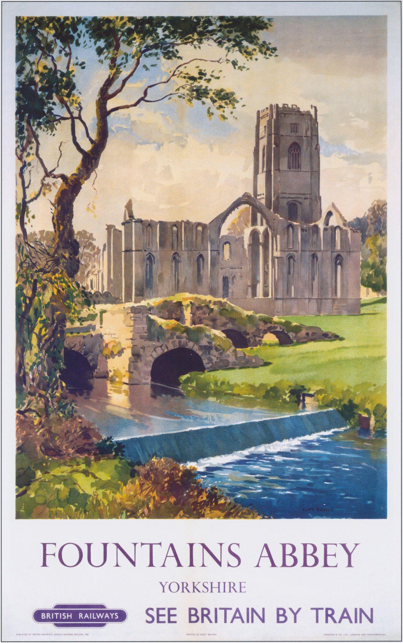 TU8 Vintage Yorkshire Kirkham Abbey Railway Framed Travel Poster Print A3//A4