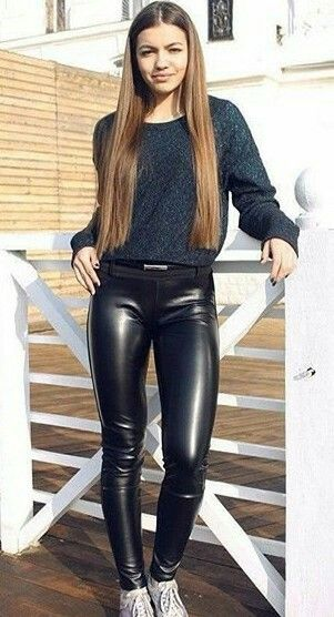 eb6e19588052af Lederlady ❤ Sexy Leggings Outfit, Leather Pants Outfit, Wet Look Leggings, Leather  Trousers