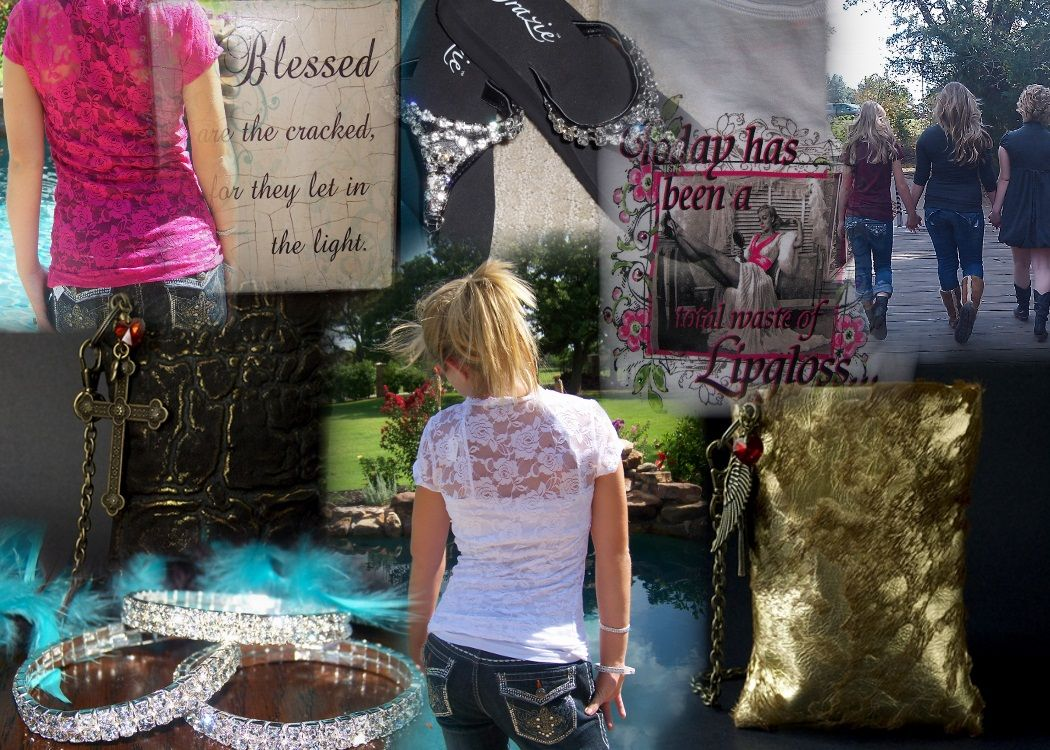 Grazie sandals, blingy jewelry, darling leather bags, vintage tees, canvas prints, lacey tops, Miss. Me jeans