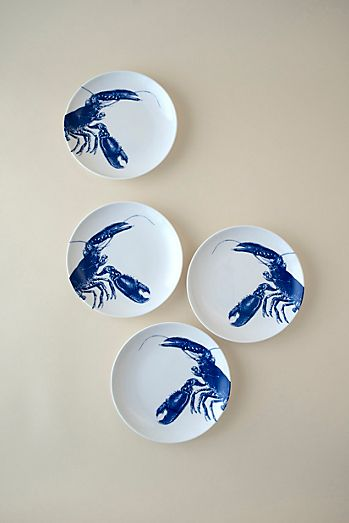 Caskata Lobster Blue Canapes, Set of 4