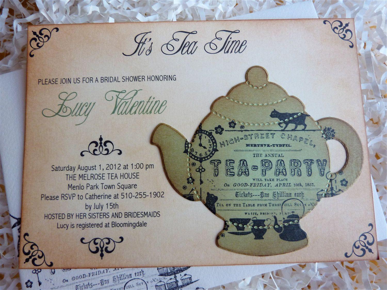 Bridal Shower Tea Party Garden VintageElegant Invitation Custom Set