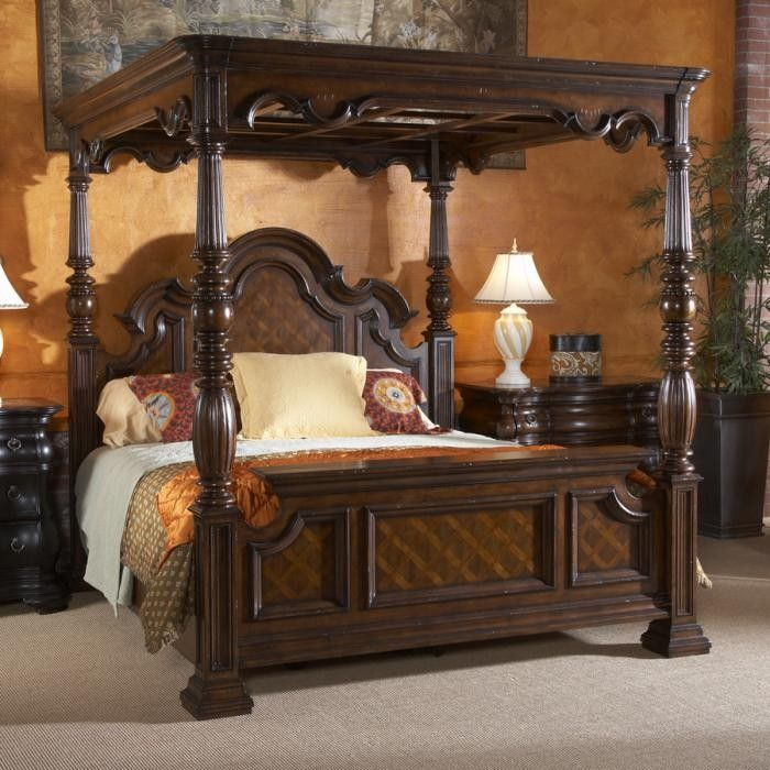 MM Furniture Villa Cascina California King Canopy Bed - Beds - Bedroom Furniture - Bedroom - Furniture.......I would repaint in antique ivory, and remove narrow trim from both headboards to enjoy the beauty of the carved woodwork.