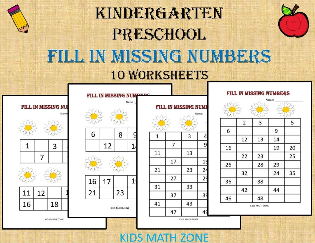 Fill In Missing Numbers Printable Worksheets Preschool
