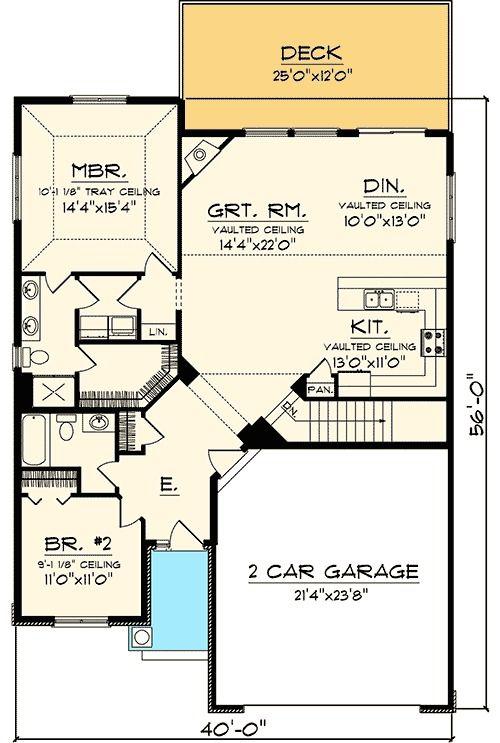 Plan 89812ah Simple 2 Bedroom Craftsman Cottage Ranch Style House Plans House Plans House Floor Plans