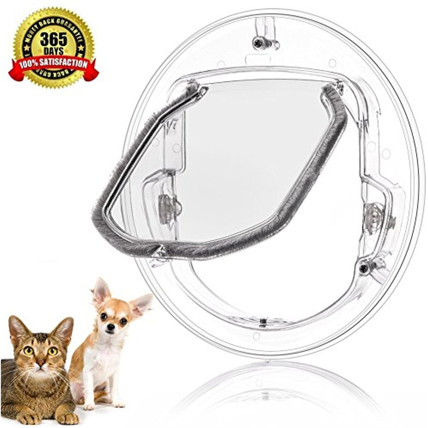 Exceptional Pet Door For Cats And Small Dogs With 4 Ways Lock,Round Clear Cat Flap With  Door Liner Kit Best Fits For Screen Window / Sliding Glass Door / Glass  Window, ...