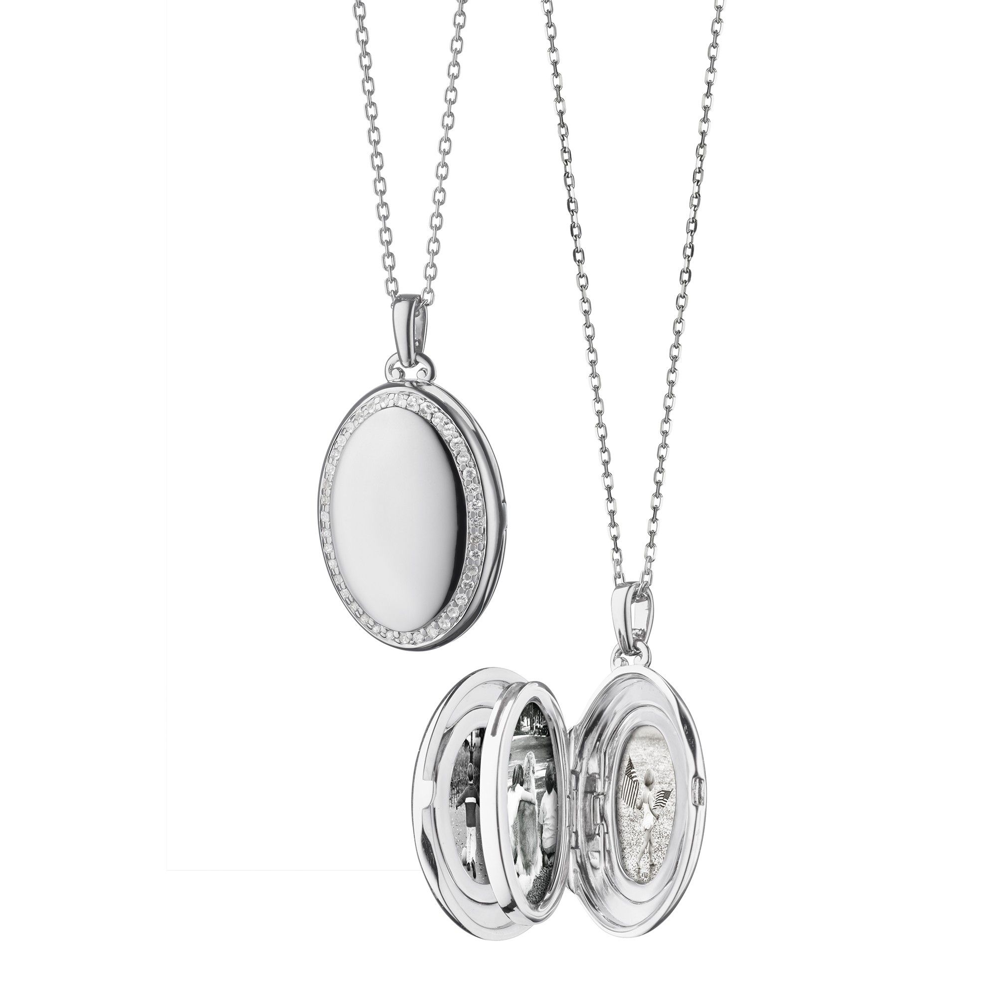 Monica Rich Kosann Sterling Silver Starburst Locket Necklace with White Sapphires G7P4FRqRB