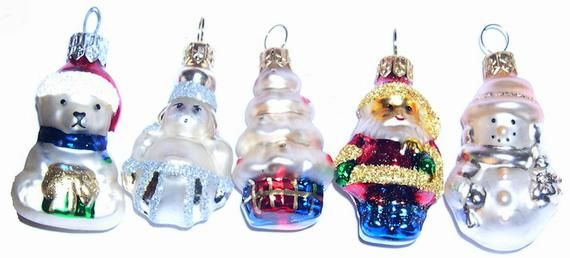 Mix and Match-10 pcs ofSmall  Vintage Handmade  Glass  Christmas Ornaments Figurines