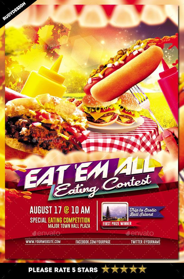 Eating Contest Flyer Template Flyer template, Template and Font logo - food flyer template