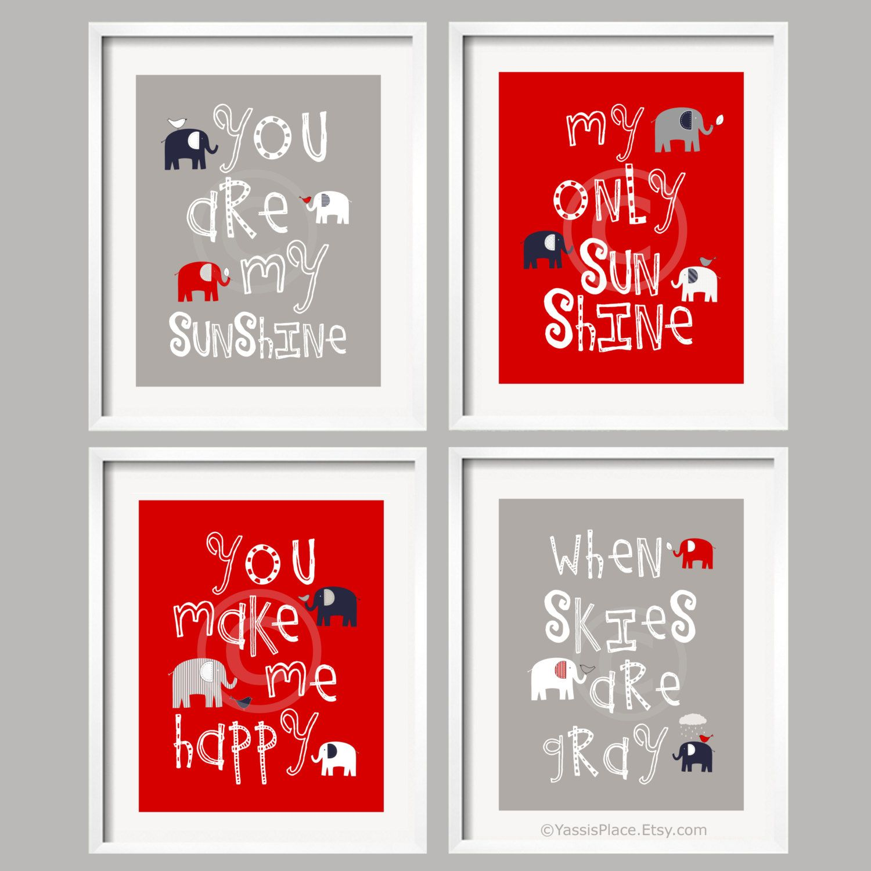 you are my sunshine, baby boy art, boy nursery decor elephant wall