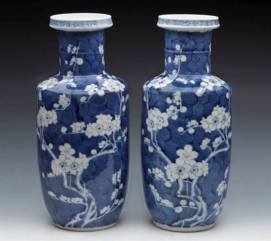 Pair Antique Chinese Rouleau Kangxi Mark Prunus Flower Vases