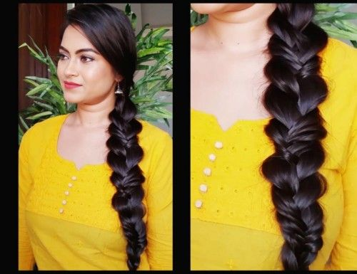 South Indian Fishtail Side Braid For Round Face Indian Hairstyles Hairstyles For Round Faces Hair Styles