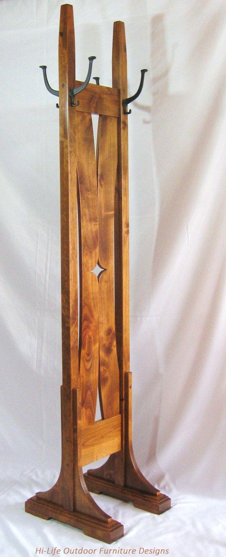 Benson Coat Tree Handmade Alder Wood 4 Cast Iron Hook Hat Stand Hall Tree Coat Rack Ooak Mission Arts Crafts Craf Coat Tree Wooden Coat Rack Coat Rack