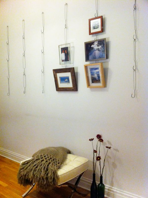 Hanging Photos On Wire wire hanger picture hanging system | upcycling | pinterest | wire