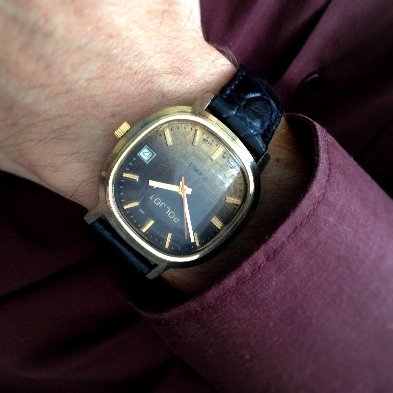 poljot flight mens soviet chunky watch from 70s custom made poljot flight mens soviet chunky watch from 70s custom made bubble crystal mens watch tv watch mini st watch raketa tv